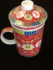 Chinese Porcelain Tea Cup Handled Infuser Strainer with Lid 10oz Red A