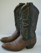 Larry Mahan Western Cowboy Boots Mens Sz 8 D Brown Black Supple Leather USA Made