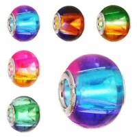 10pcs Murano Lampwork Glass Charm Big Hole Gradient Beads Fit European Bracelet