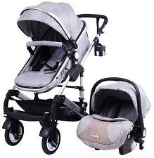 3in1 Kombi Kinderwagen Babywanne Buggy Autositz 0-15kg Grau Leinen Neu Casiloo®