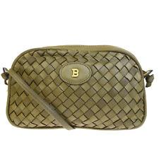Authentic BALLY Logos Cross Body Mini Shoulder Bag Leather Khaki Italy 07EP148