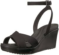 Crocs Women's Leigh II Ankle Strap Wedge Sandal Black Worldwide 100% Authentic