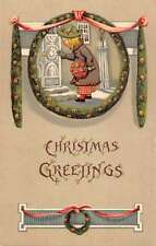 Christmas Greetings Girl With Boquet At Door Antique Postcard K28747