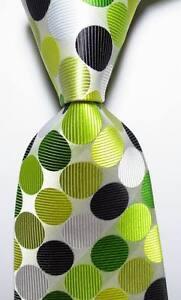 New Classic Dot White Light Green Black JACQUARD WOVEN Silk Men's Tie Necktie