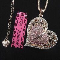 "Betsey Johnson Pink Crystal Heart Charm Pendant Gold Tone Chain 27"" Adj."