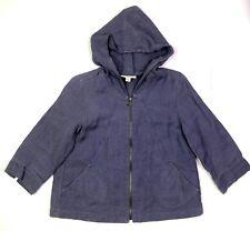 Coldwater creek hooded 3/4 sleeve linen jacket purple women's size xs 4