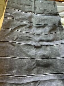"NEW Custom-Made Blue Vertical Striped Linen Curtain Panel - 98""W x 96""L"