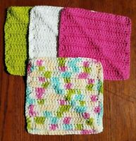 Lot of 4 New Hot Pink Green Handmade-Crocheted 100% Cotton Dish/Wash Cloths Gift