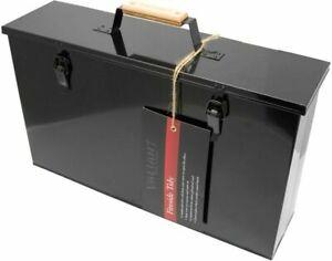Valiant Fireside Tidy Ash Transporter - Black Gloss Steel Storage Box - FIR240
