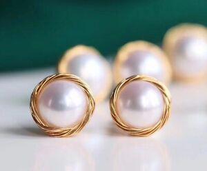 Genuine Natural Freshwater Pearl Luxury 14Carat Gold Filled Stud Earrings