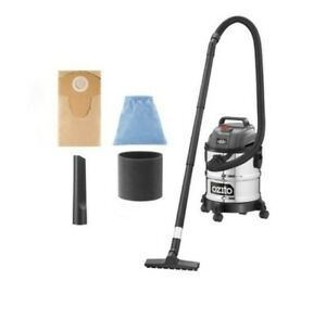 Ozito 1250W 20L Stainless Wet And Dry Vacuum Cleaner Indoor Outdoor