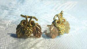 WONDERFUL 14k Yellow Gold GRAPE Cluster Stud EARRINGS Lovely design and on