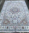 New Fine Floral Oriental Rug, Handmade in India, Blue & White, Silk & Wool, 6x9