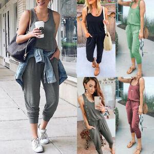 Womens Ladies Sleeveless Loungewear Tracksuit Jumpsuit Summer Comfy Playsuit UK