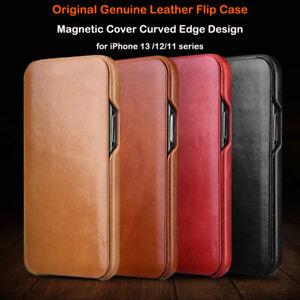 ICARER OriginaI Retro Genuine Leather Flip Slim Case F iPhone 13 Pro Max 12 mini