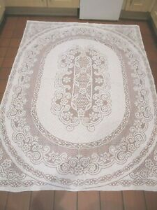 Large  Vintage  white lace tablecloth. Christmas table setting.