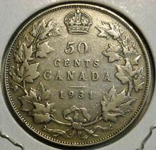 1931 CANADA 50 CENTS HALF DOLLAR LOW MINTAGE