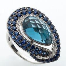 18ct White Gold Cocktail Ring,Natural London Blue Topaz,Sapphires,Diamonds Sz 9
