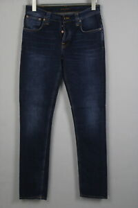 RRP $145 NUDIE Jeans GRIM TIM CROSSHATCH WORN IN Mens W31/L34 Blue Jeans 2362_mm
