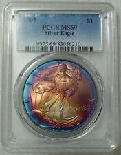 2005 PCGS MS 69 Silver Eagle GORGEOUS RAINBOW Superb Exquisite GEM ASE $1