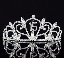 Quinceanera 15 Fifteen Birthday Party Rhinestone Tiara Crown W/ Hair Comb T47
