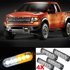 4X White&Amber 6 LED Emergency Hazard Warning Caution Beacon Strobe Light Bar#92