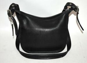 Authentic Vtg COACH Duffle Black Leather Crossbody Bucket Shoulder Bag Purse