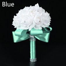 Handmade Foam Bridal Wedding Bouquet Rose Silk Flower Rhinestone For Bridesmaid