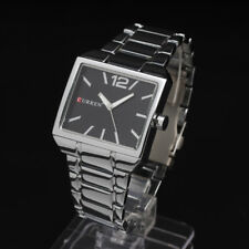 Curren Quartz Square Black Face Stainless Steel Silver Men Wrist Watch Sports