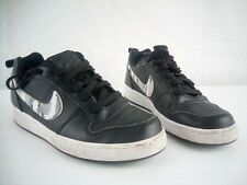 Chicos Nike Court Borough bajo UK 3 EU 35.5 Negro Cuero Blanca Nike Swoosh