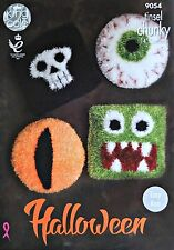 KNITTING PATTERN Easy Knit Halloween Eyeball Skull Monster Cushion Chunky 9054
