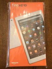 NEW/SEALED Amazon Fire HD 10 Tablet WHITE 32GB 9th Gen 1080p+CUSTOM CASE Bundle
