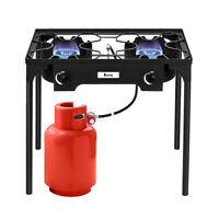 Outdoor Camp Stove High Pressure Propane Gas Cooker w/ Double Cooking Burner