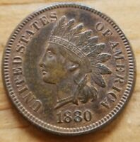 1880 Indian Head Cent Uncirculated MS UNC Red Brown RB 1c Coin