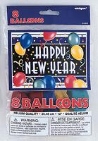 8 X Happy New Year Luftballons Gemischte Farben Neues Jahr Partydekorationen