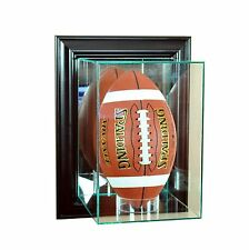 New  Wall Mounted Upright F/S Football Glass Display Case Black Molding Made US