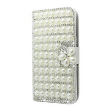 For Samsung Galaxy S5 G900 I9600 Flip Closure 3D Diamond Pearl Glossy White A YS