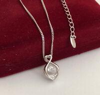 Halskette Herz Anhänger Dancing Perle mit Swarovski Kristallen 18K Weißgold pl.