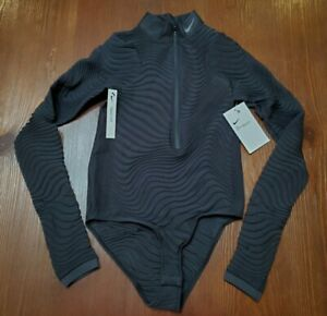 Women's Nike City Ready Seamless Long-Sleeve Training Bodysuit Black SZ XS $125