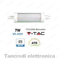 Lampadina led V-TAC 7W = 40W R7S bianco caldo 2200K VT-1917 SMD tubolare faro