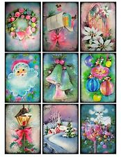9 Vintage Retro Shabby Christmas Pastel Hang Tags Scrapbooking Paper Craft (273)