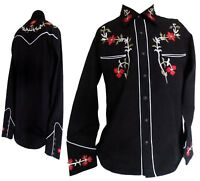 Mens Western Cowboy Black Red Long Sleeves Rockabilly Relco Line Dancing Shirt