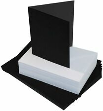 "40 x 5"" x 7"" BLACK BLANK CARDS 225gsm & WHITE ENVELOPES 100gsm CARD MAKING 2311"