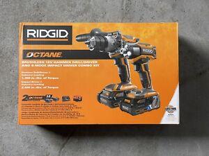 NEW - Ridgid R9501 Octane Brushless Hammer Drill/ Driver Impact Driver Combo Kit