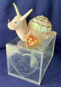 TY Swirly Snail Beanie Baby 1999 Pink beanbag plush with tag / lucite box case