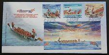 2008 Malaysia Dragon Boat 3v Stamps & Mini-Sheet on 1 FDC (Melaka Cancellation)