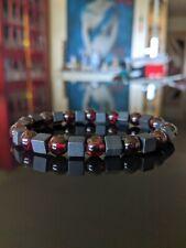 """Onyx Cube & Garnet Bead Bracelet Men Sretch 8mm, 7.25"""", 7.75"""", 8.25"""", 8.75"""" inch"""