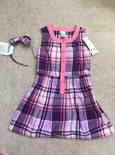 NWT GYMBOREE Outlet Dress 4 4T NEW Purple Plaid Dress Hair Headband Lot Spring