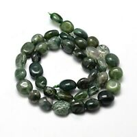 Agate Natural Gemstone Nuggets Moss Green 4-7mm Approx 55 Beads