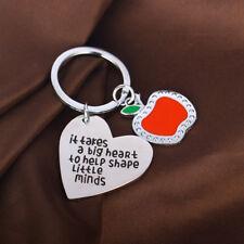 Apple Charm Love Heart Gift For Teachers Keyring Keychain Key Chain Ring Pendant